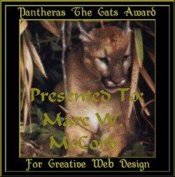 Pantheras the Cat Award for Creative Web Design