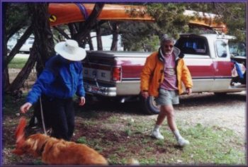 Fred Crowley and his wooden canoe at Cleburne State Park, Februry, 2002