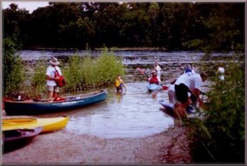 Loading boats for the July, 2002 Moonlight Paddle