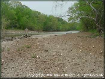 A gravel beach along the Kiamichi River