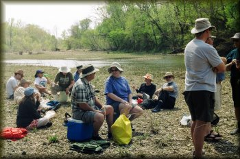 Relaxing after lunch on the Kiamichi River