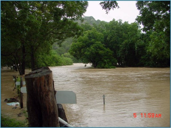 The bridge at 4th Crossing was under many feet of water on July 5, 2002