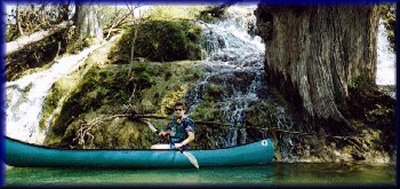Marc McCord at Travertine Falls on the Upper Guadalupe River, March, 1998