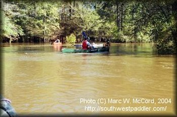 Dallas Downriver Club members on a flooded Village Creek